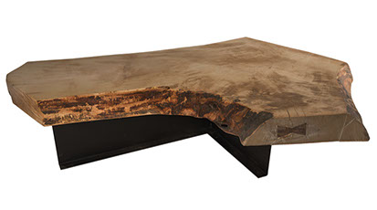 A collection of solid wood live edge coffee tables. Most tables have a rustic or industial style.